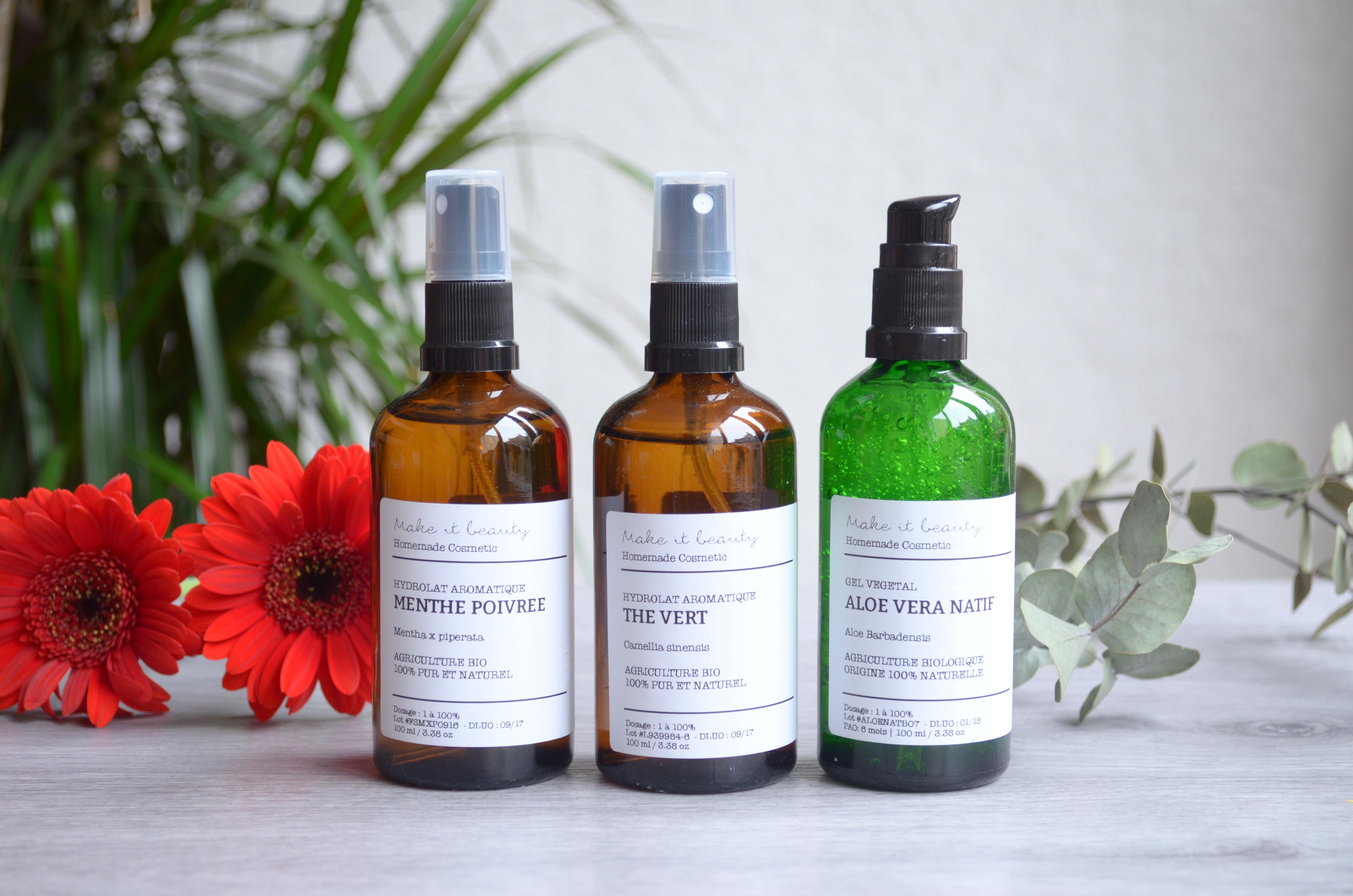 Hydrolats, huiles végétales et gel d'aloe de chez Make-it-beauty